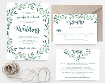Greenery Wedding Invitation Template, Printable Wedding Invitation Suite, Floral Garden Green Wreath Invitation, Instant download Editable