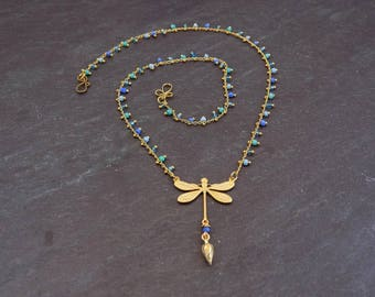 Delicate Dragonfly Pendant Necklace with Blue Dangle Bead Chain