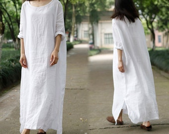 200--- Oversized High Counted Washed French Linen Dress, White Long Dress, Caftan Maxi Dress, Tunic Robe, Maternity, Plus Size Clothing.