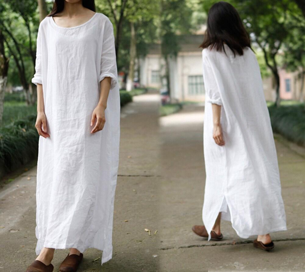 200 Oversized Linen Dress White Long Dress Caftan Maxi