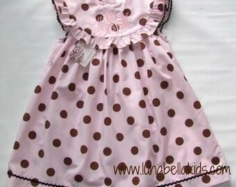 Summer Dress for Girls, Spring Dress, Monogram dress, Personalized Dress, Birthday Dress  Girls Summer Dress Brown Polka Dots 12M,3T