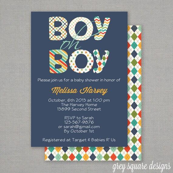 Boy oh boy baby shower invitation filmwisefo