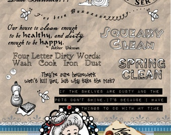 Spring Cleaning Housework Word Art, Sentiments, Digital Stamp, Digi, Photography Overlay,  Instant Download ID:NV-WA0005 By Nana Vic