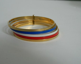 Retro Red White Blue and Gold Stacking Bracelet
