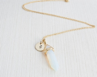Gold Initial and Opalite Necklace, Disc Necklace, Personalised Jewellery, Gold Necklace, Gift idea