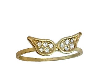 14k Tiny Wings Diamonds  Ring, FREE SIZING