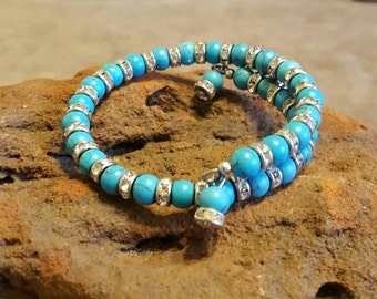Adjustable Rhinestoned  Birthstone bangle bracelet.