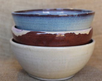 Mix and match pottery bowl set of 3, stoneware, wheel thrown