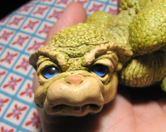 """Very Rare Cute Dragon Keep Figurine """"Droop"""". w/ Crystal by Marty Sculpture (#5107)"""