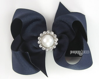 "Navy Blue Hair Bow with Rhinestone Pearl Girls Hair Bow, 4 Inch Bow, 4"" Special Occasion Wedding Hair Bow, Flower Girl Hair Bow, Pageant Bow"