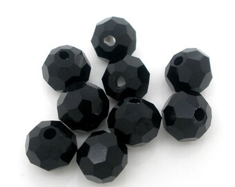 SALE Black Beads - Crystal Quartz 5000 - Faceted - 8mm - 100 Pieces - Ships IMMEDIATELY from California - B351