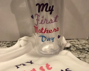 CATERS 6-12 MONTHS ONEIES and a tumbler cup