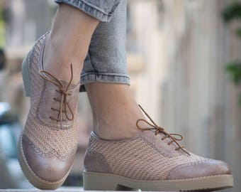 Beige Leather Shoes, Leather Oxfords, Leather Brouges , Winter Shoes, Flat Shoes, Flats, Free Shipping