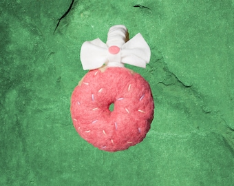 strawberry needle felted donut earmuffs (pastel sprinkles)