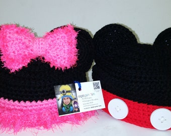 """Minnie or Mickey """"like"""" Baby / Toddler Hat ------------------------------------------------------ FREE SHIPPING within the US"""