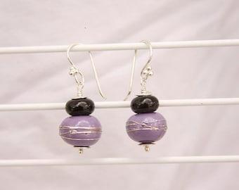 Handmade Artisan PURPLE Black & SILVER Lampwork Earrings Sterling .925 OOAK