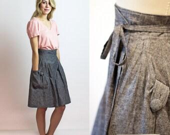 Chambray wrap skirt, Grey Hemp & organic cotton chambray denim skirt, Gift for her