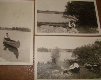 LAST CHANCE SALE Set of 5 Vintage Camping Photos (50's Possibly?)