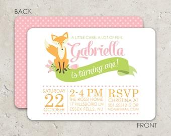 Fox Birthday Invitations - Soft, modern design with 2 sided printing