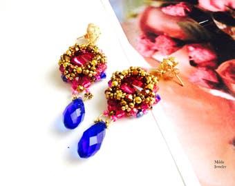 Glass Beaded earrings, pink, bleu earrings, beadweaving, beadwork jewelry, dangle drop chandelier earrings for her, handmade jewelry