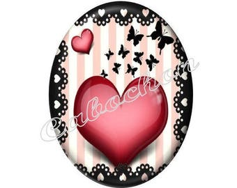 2 cabochons 25mm x 18mm glass Coeur Valentine, red and black
