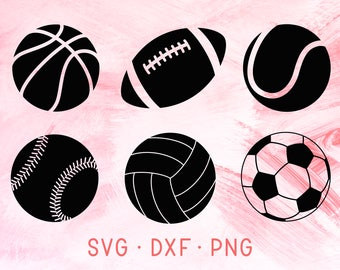 Sports Ball Collection SVG, DXF, PNG, Basketball, Baseball, Volleyball, Football, Soccer ball, Tennis ball, Rugby Ball Svg Bundle