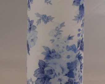 Shabby Chic Blue and White China Floral Handmade Candle - Great Gift for lovers of all things Shabby Chic