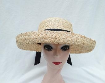 Raffia Straw Kettle Brim Hat With Black Ribbon Band / Raffia 3 Inch Brim Straw  Hat / Raffia Sun Hat
