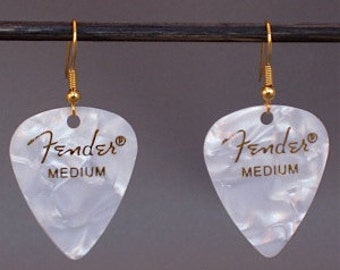 Fender White Pearl Guitar Pick Earrings with Gold Hooks