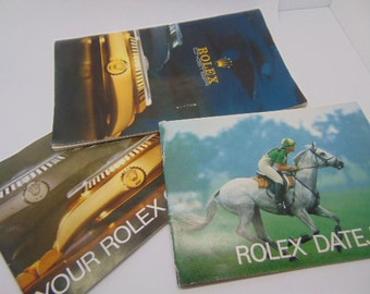 Three (3) Rolex Watch Co., Pamphlets Datejust, Oyster, and another Rolex Oyster Full Color