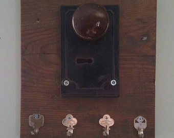 Antique Door Lock & Knob Key Rack