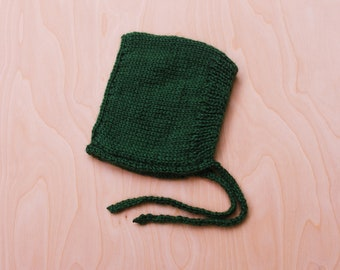 Forrest Green Knitted Baby Bonnet