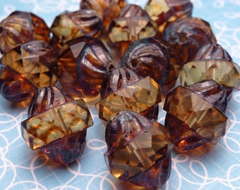 Cognac Cathedral Glass Beads 11mm - 4pc