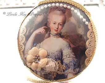Marie Antoinette Curved Glass Ornament Picture Sweet Assemblage Golden Pearl Marie Style Lorelie Kay Original