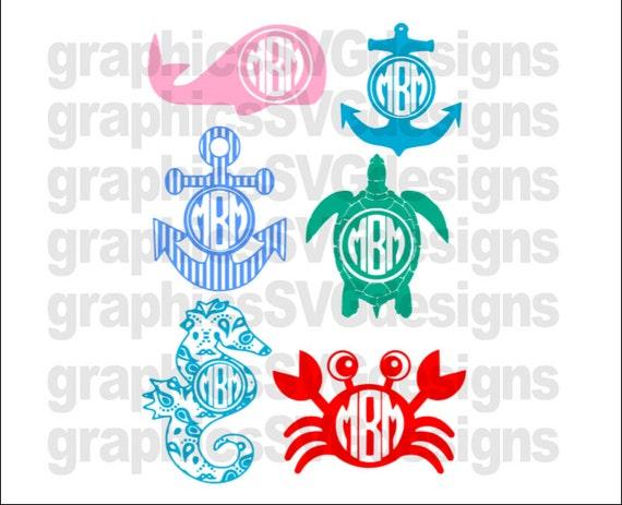 Summer Monograms Beach Monograms Monogram Svg Dxf Png
