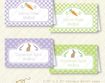 Purple Easter Party Buffet Card Printable Tent editable text instant download chocolate bunny carrot place card gingham treat bag pdf diy