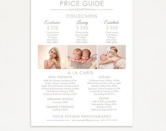 Photography Package Pricing Guide Template - Photography Pricing List - Price Guide Photography Marketing Template 006, Instant Download