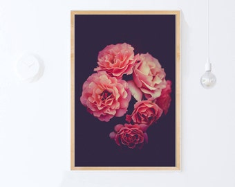 Dark Florals Wall Art Print, Pink Roses Print, Floral Digital Print Download, Floral Photography Flower Print Printable Wall Art Bedroom Art
