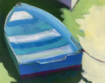 A Little Dinghy - 8x8 inches original framed acrylic painting of a small blue row boat in the water made by Maryland artist Barb Mowery