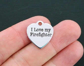 Firefighter Charm Polished Stainless Steel - I love my firefighter - Exclusive Line - Quantity Options  - BFS201