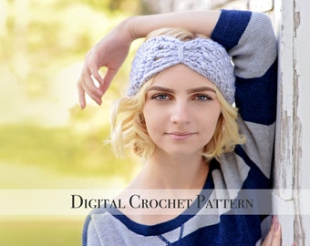 Crochet Ear Warmers Pattern / Butterfly Band Pattern 036 / Crochet Pattern / Crochet Headband Pattern / Crochet Turban Pattern / DIY Pattern