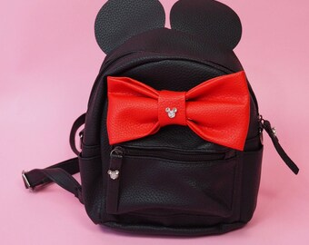 Disney Inspired Minnie Mouse Black Mini Backpack with Ears and Red Bow and Hidden Mickeys with convertible straps to side purse perfect fo