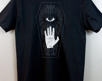 Occult shirt Wicca Witchy Dark grunge Esoteric Nu goth Gothic fashion Pastel goth Tumblr aesthetic All seeing eye Coffin Weird art Hot Topic