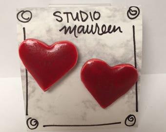 Red Ceramic Heart Earrings