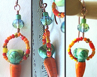 Ceramic and African Trade Bead Carrot Earrings