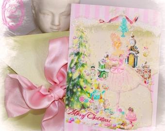 Marie Antoinette Christmas Sugarplum Fairy Nutcracker Ballet Flat or Folding Card Set