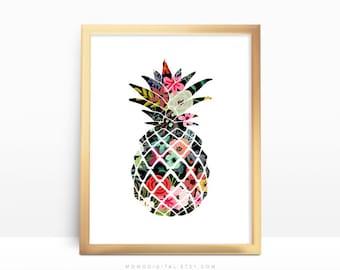 SALE -  Floral Pineapple, Flower Pattern, Shabby Chic Style, BOHO, Baby Girl Nursery, Fruit Silhouette, Food Poster, Modernism Art