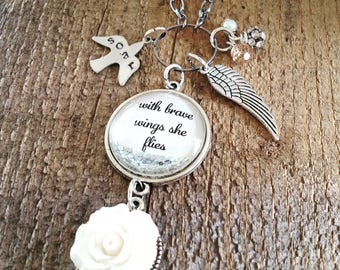 Inspirational quote necklace, With brave wings she flies, charm necklace, graduation gift, inspirational gift, necklace, gift for her