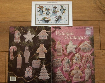 vintage 1990 and 2009 cross stitch pattern Victorian ornaments Christmas penguins