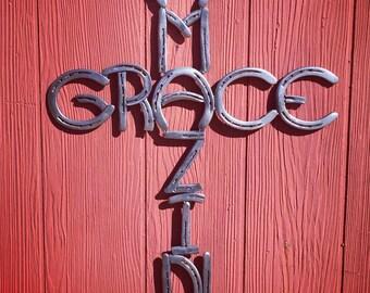 Horseshoe Amazing Grace Cross